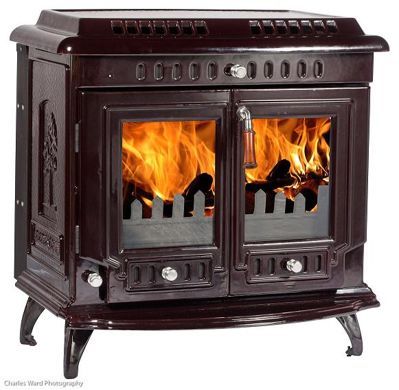 18.5kW Lilyking 667 Brown Enamel Multi Fuel Boiler Stove